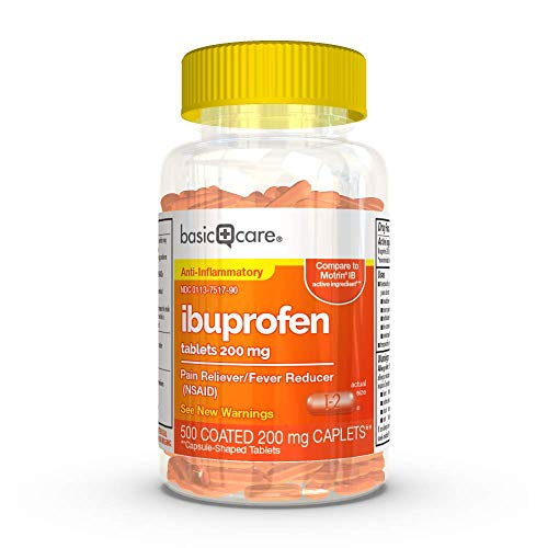 Amazon Basic Care Ibuprofen Tablets, 200 mg, Pain Reliever/Fever Reducer, for headache, muscular ache, arthritis, toothache, backache, the common cold, menstrual cramps, 500 Count