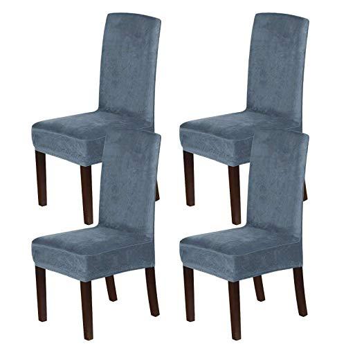 Velvet Dining Chair Covers, Stretch Chair Covers für das Esszimmer 4er-Set Parson Chair Slipcovers Stuhlschutzbezüge Dining Soft Thick Solid Velvet Fabric Waschbar-Grau Blau-4 PC