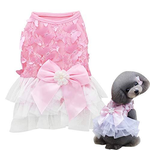 Vestido para perro, falda de tutú para perro de mascota, vestido de cumpleaños de encaje con lazo para perrito, gato y niña (rojo, M: contorno de pecho 32 cm, longitud de la espalda: 25 cm)