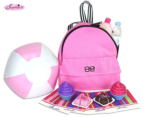 Sophia's Doll Food, Beach Ball & Doll Backpack Accessory Set fits 18 Inch Dolls | 12 Pieces Includes Backpack of Food, Ball, Napkins, Sunscreen & Water Bottle