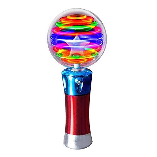 Carga de diversión Niños Luminoso Magic Ball Toy Stick LED Flash-Rotating Light Mostrar juguete Niños Fiesta Fiesta Mostrar Toy Micrófono Forma (sin batería) Ayuda con las habilidades de desarrollo.