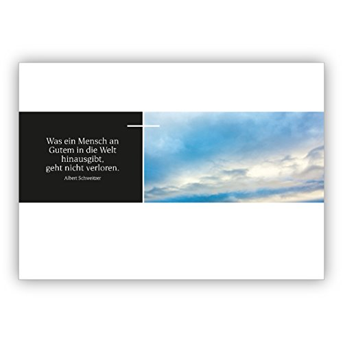 5 stuks moderne, grafische rouwkaart met enveloppenset met hemel, kruis en citaat van Albert Zwitsers citaat: wat een mens aan goed in de wereld is, gaat niet verloren.