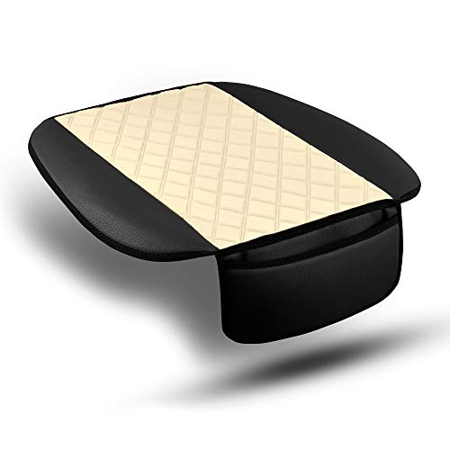FH Group FB210102 Faux Leather/NeoSupreme Seat Cushion Pad with Front Pocket (Beige) Front Set – Universal Fit for Cars Trucks & SUVs