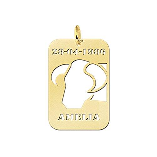 Naamforever rechthoekige hanger met afgeronde hoeken van gouden stier sterrenbeeld dierenriemteken en naamgravure op de voorkant