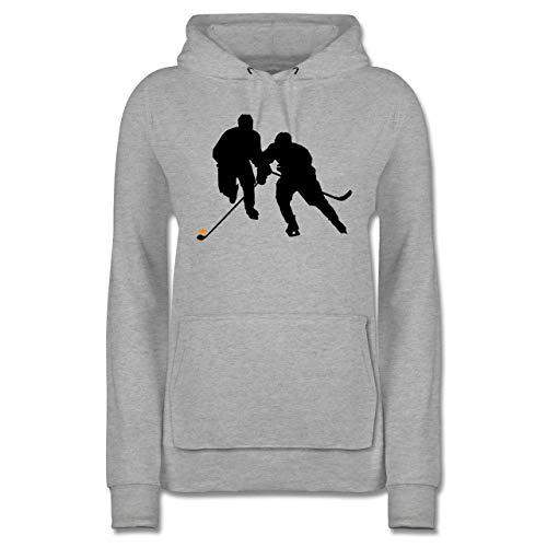 Eishockey - Eishockeyspieler - XS - Grau meliert - Eishockey Pulli - JH001F - Damen Hoodie und Kapuzenpullover für Frauen
