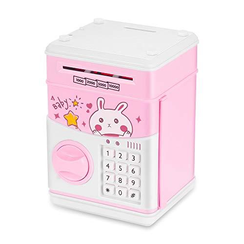 Wovatech Hucha para niños, Mini Caja de Dinero electrónica para niños automática, Banco de Ahorro automático de Dinero con contraseña, Conejo Lindo / Estúpido Oso