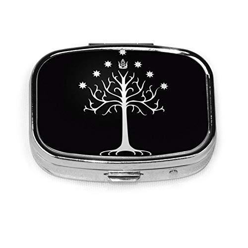 Pastillero de viaje a prueba de humedad con botón pulsador, pastillero decorativo de El Señor de los Anillos Caja de contenedor de metal