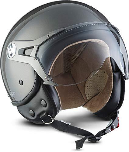 "SOXON® SP-325 Mono ""Titan"" · Jet-Helm · Motorrad-Helm Roller-Helm Scooter-Helm Moped Mofa-Helm Chopper Retro Vespa Vintage Pilot Biker Helmet · ECE 22.05 Visier Schnellverschluss Tasche M (57-58cm)"