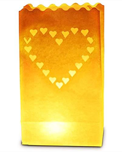 Paquet De 20 Design Cœur Papier Blanc Lanterne Bougie Sac