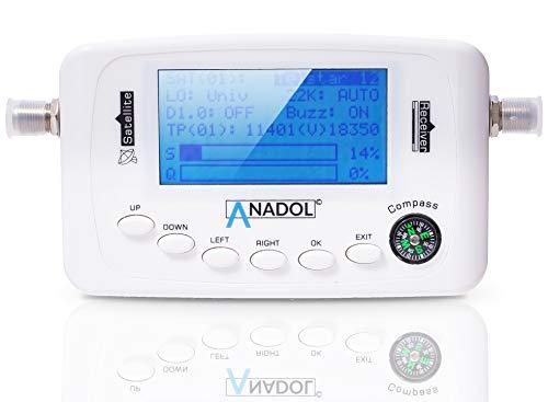 Anadol SF44 Digitaler Satfinder-Messgerät mit Kompass Signalton & Pegelskala - Ausrichtung ihrer digitalen Satellitenanlage - HDTV 4K - LCD-Anzeige - Sat Finder Messgerät Anleitung in DE/ENG