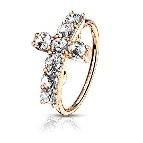 Trendy-Sandy Nasenpiercing - Nasenring Zirkonia Ring Kreuz Piercing Tragus Helix #686 Rosegoldfarben