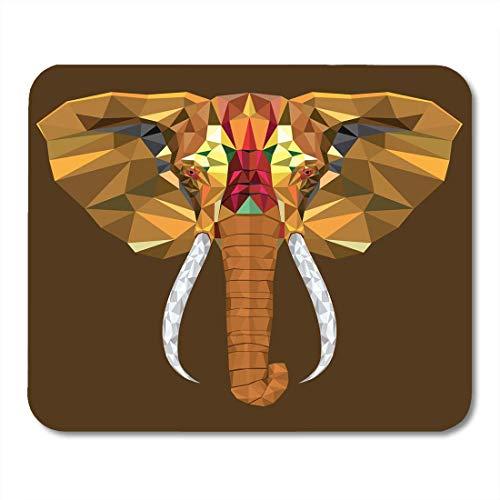 BGLKCS Ethnic Blue Animal Elephant Head with Geometric Pattern White Mosaic Tattoo Mouse Pad 8.6 X 7.1 in