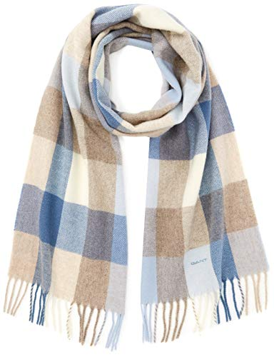 GANT Damen O2. Multicheck Lambswool Scarf Schal, Blau (Hamptons Blue), One size
