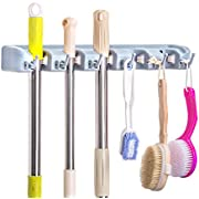 Broom Holder Wall Mount, McoMce Broom Holder with 5 Positions and 6 Hooks, Broom and Mop Holder Wall Mounted for Garage, Home & Garden Tool Organizing, Practical Mop and Broom Holder Wall Mount(Gray)