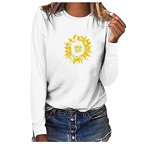 Nuevo 2021 Camiseta Manga Larga de mujer, otoño Elegante Casual girasol impresión Blusa basic camisa Cuello redondo Cómodo Camiseta Suelto Tops primavera fiesta T-Shirt original