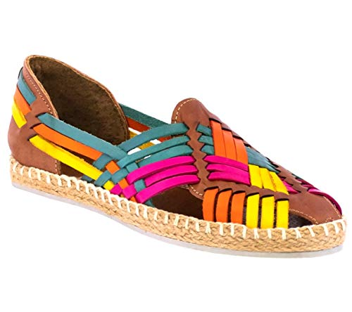Womens 106 Rainbow Mexican Leather Sandals Platform Huaraches Slip On 8