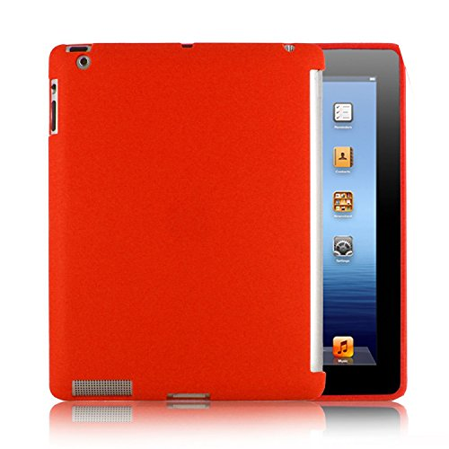 Kolay® iPad 3/4 Hoesje – TPU Siliconen Hoesje + Sok & Screen Protector met Instructies voor de Nieuwe Apple iPad 3 3e 4e generatie 2012-13, iPad with Retina display - 3. + 4. Generation, Rood