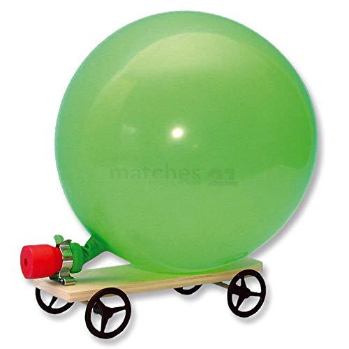 matches21 Auto / Fahrzeug mit Luftballonantrieb Luftballonfahrzeug Bausatz f. Kinder Werkset Bastelset Lernspiel ab 10 Jahren