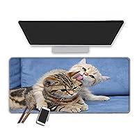 ネコアニメゲーミングマウスマットデスクパッドラージマウスパッドマウスパッドロッキングエッジキーボードパッドA_XL(30x80cm)