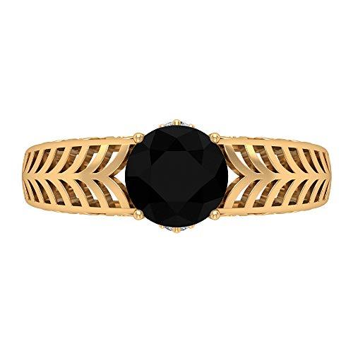 Anillo de compromiso de 7 mm con solitario ónix negro, D-VSSI moissanita y ónix negro, anillo de filigrana de oro macizo (calidad AAA), 14K Oro amarillo, Size:EU 50