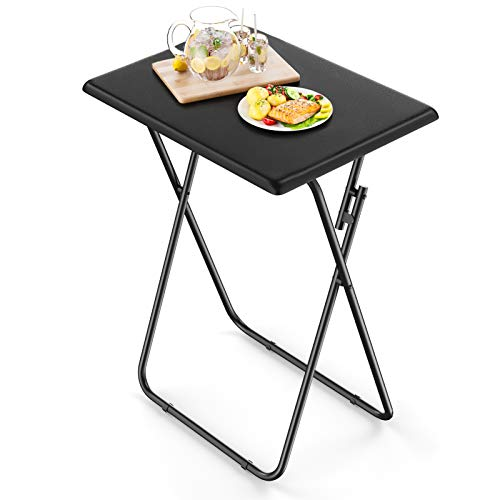 AMERIERGO Folding TV Tray Table - Fully Assembled TV Table for Eating at Couch, Stable Dinner Table Easy to Storage, Snack Coffee End Table Ideal for Living Room & Bedroom