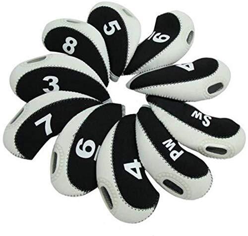 DBYAN Nummer Tag Golf Club & Keil Iron Head Covers Schlägerkopfhüllen mit Fenster Display, Neopren Material Stück 10,6Farben Optional, Schwarz/Weiß
