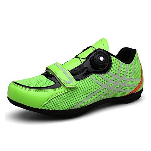 BING FENG Zapatillas de Ciclismo sin enchufes Racing Shoes MTB Ciclo Sneaker Otoño Invierno Nentry-Level Individual Zapatos Pareja Zapatos para los Amantes del Ciclismo (Color : Green, Size : 39)