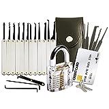 20-teiliges Lockpicking-Set mit Transparentem Vorhängeschloss & Dietrich Kit im Kreditkartenformat von LockCowboy -...