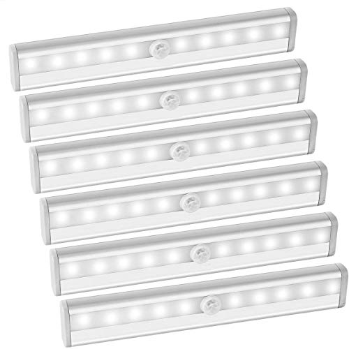 AMIR 10 LED Motion Sensing Closet Lights, DIY Stick-on Anywhere Portable Wireless Cabinet Night/Stairs Light Bar with Magnetic Strip, Puck Lights (Battery Operated - 6 Pack)