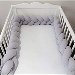 Baby Knotted Braided Plush Soft Nursery Newborn Gift 4M Decor Handmade Pillow Cushion for Baby Girl and Boy(158inch,Gray)