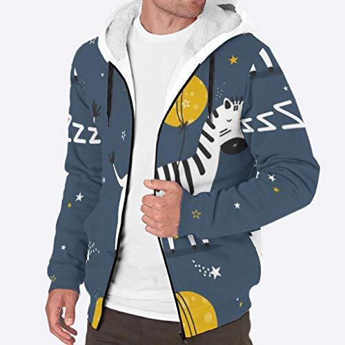 RQPPY Herren Kapuzenjacke mit durchgehendem Reißverschluss Fleece Sleepy Zebras Hoodie Jacken 3XL weiß