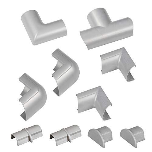 D-Line CLOAP3015A Accesorios semicirculares de conexión con prendedor clip, Efecto de aluminio, Set de 10 Piezas