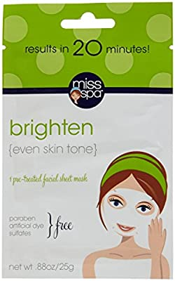 Miss Spa Brighten Facial Sheet Mask, 0.88 Ounce