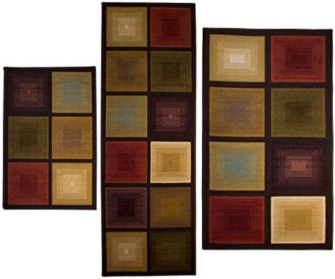 Optic Squares 3 piece Rug Set Features A Unique Eye Catching Design product image