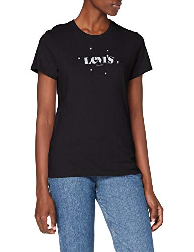 Levi's The Perfect Tee T-Shirt, New Logo with Stars Caviar, XS Donna