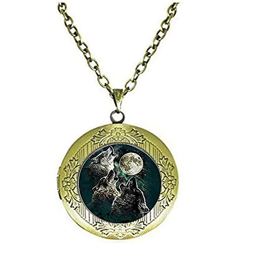 Collar con medallón de la familia de lobos y tres lobos, lobo y luna