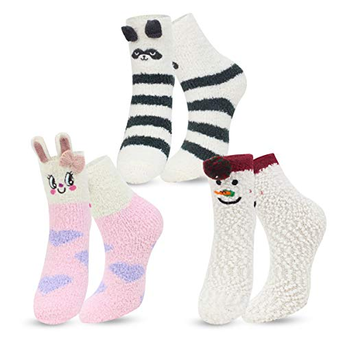 ECOMBOS Damen Socken Winter, Kuschelsocken Warme Weihnachtssocken Flauschig Haussocken Dicke Damen Geschenk Socken für Frauen und Mädchen, Schneemann, Einheitsgröße