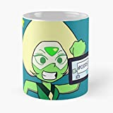 Ok Steven Universe Gems Cristal Star Cute Rude Peridot Girl Chibi Mug holds hand made from White marble ceramic printed trendy design