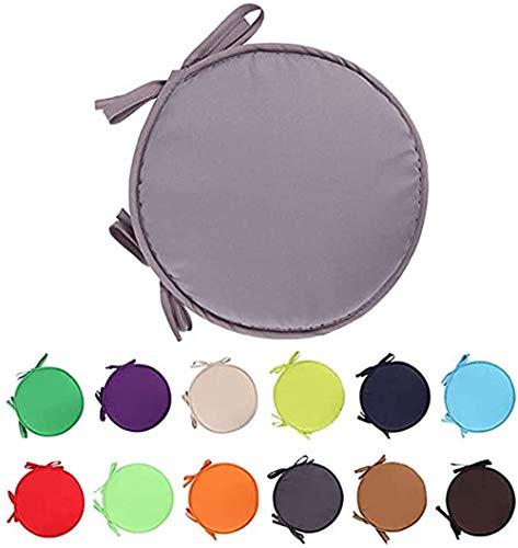 Nicole Knupfer Juego de 4 cojines redondos de fieltro lavables para sillas de interior y exterior (38 cm de diámetro), color gris claro