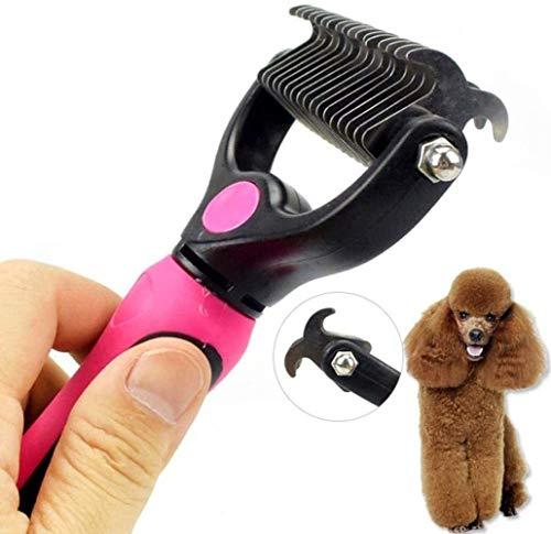 YYhkeby Haustier-Bürsten-Haustier-Kamm-Doppelt-geöffneter Knoten Messer Rake Edelstahl Katze und Hundehaar-Grooming Werkzeuge, Gemischt, 17 * 10cm Jialele (Color : Mixed, Size : 17 * 10cm)