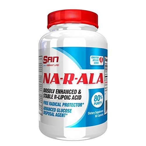 SAN Nutrition NA-R-ALA Glucose Disposal Agent & Nutrient Partitioning Biosolv-Enhanced R-Lipoic Acid with High Bioavailability, 60 Count