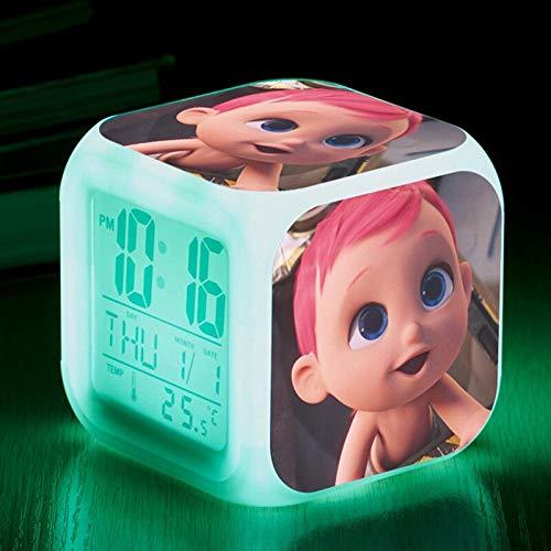 shiyueNB Reloj Despertador Digital retroiluminado luz Nocturna Luminosa Linterna de 7 Colores lámpara de Mesa Reloj de Pantalla de Mesa LCM10