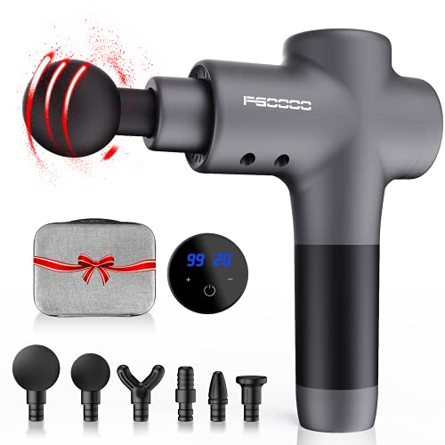 Massage Gun Fathers Day Gifts,Hand Held Deep Tissue Muscle Massager for Athletes - Portable Ultra Massager with 20 Speeds & 6 Massage Heads for Pain Relief(Gray)