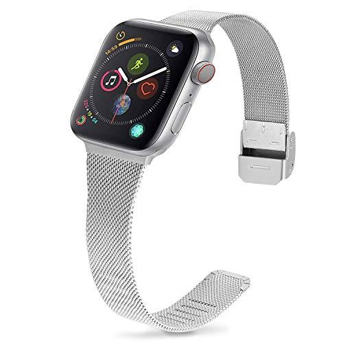 Cinturino per Apple Watch 38mm, Fullmosa Acciaio Inossidabile Cinturino in Metallo per iWatch Compatibile con Apple Watch Serie SE 6 5 4 3 2 1, 38mm Argento + Argento Hardware