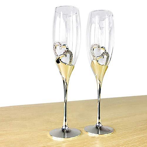 FFCVTDXIA Creative Wine Glass Gafas de Champagne, Conjunto de Vidrio de 2modern Regalo Elegante para Mujeres, Hombres, Boda, Aniversario, Navidad cumpleaños dsb