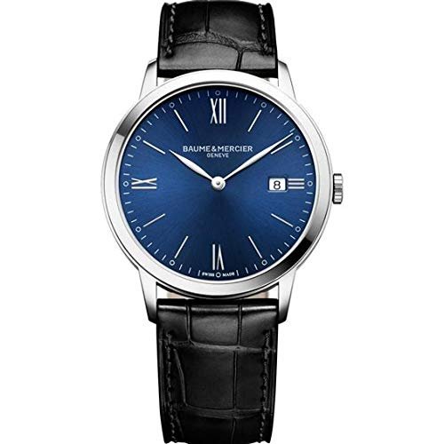 Baume et Mercier Classima Blue Dial Mens Leather Watch MOA10324