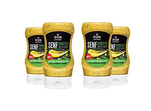 Grillido Senf Kräuter I 4er Pack I unser mittelscharfer Kräuter Senf ist die perfekte Alternative zu BBQ-Saucen und Ketchup I mit 100% natürlichen Zutaten I gluten- und laktosefrei