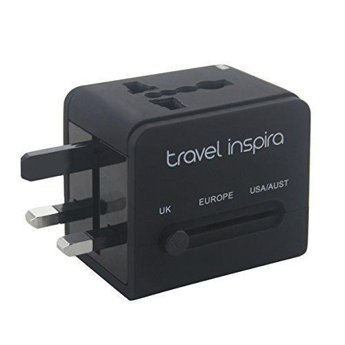 Travel Inspira - Caricatore da viaggio universale, adattatore AC da parete con spina, doppia porta USB per USA, Europa, UK e Australia