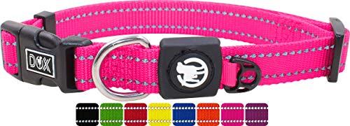 DDOXX Hundehalsband Nylon, reflektierend, verstellbar | für kleine & große Hunde | Halsband Hund Katze Welpe | Hunde-Halsbänder groß breit | Katzen-Halsband Welpen-Halsband klein | Pink Rosa, S