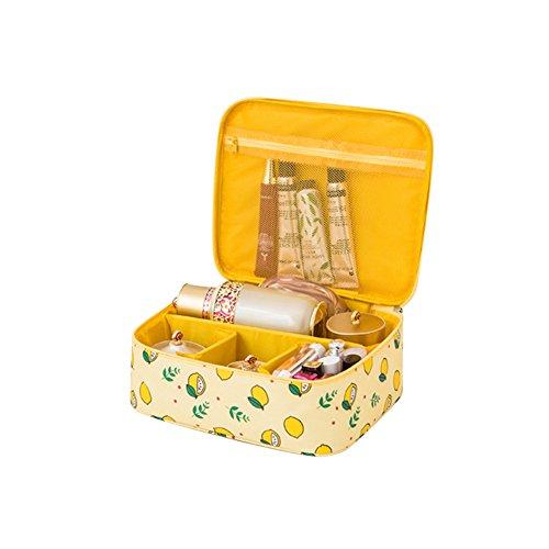 Frjjthchy Fresh Lemon Pattern Cosmetic Bag Multi-layer Portable Toiletry Organizer Travel Case (Yellow)